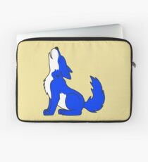 Blue Howling Wolf Pup Laptop Sleeve