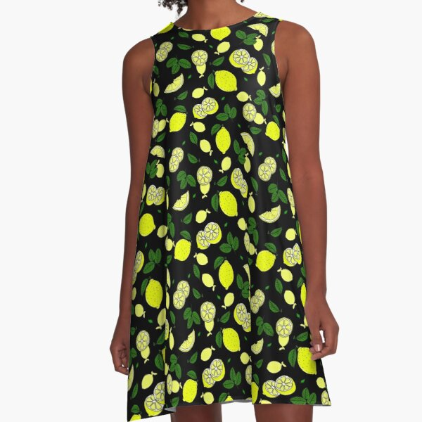 Pretty Lemons and Leaves Yellow and Green Fruit Pattern A-Line Dress