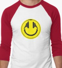 Headphones smiley wire plug Men's Baseball ¾ T-Shirt