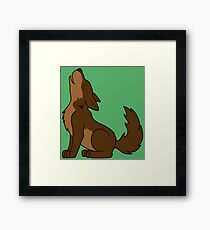 Brown Howling Wolf Pup Framed Print