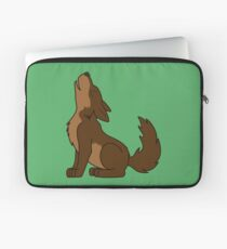 Brown Howling Wolf Pup Laptop Sleeve