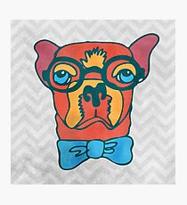 Bowdy Boxer the Handsome Asture Geek Dog Photographic Print
