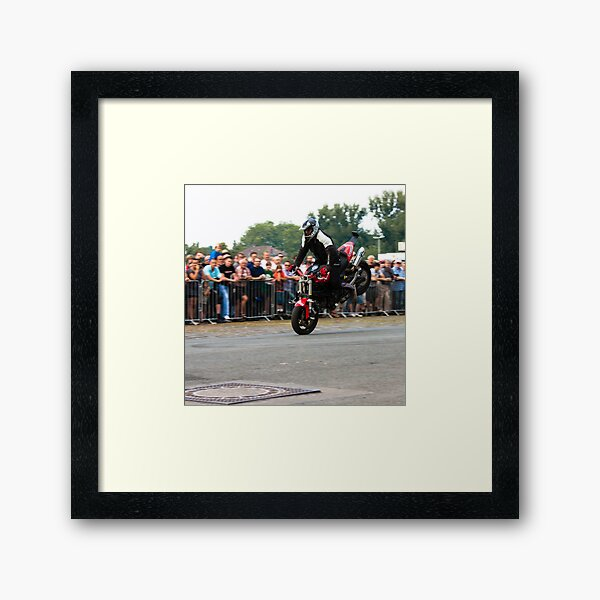 motorcycle stunt 001 Framed Art Print
