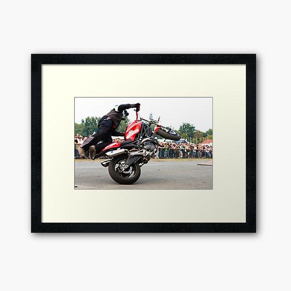motorcycle stunt 008 Framed Art Print