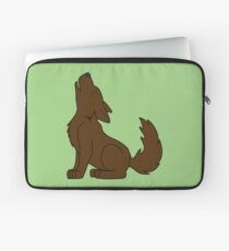 Solid Brown Howling Wolf Pup Laptop Sleeve