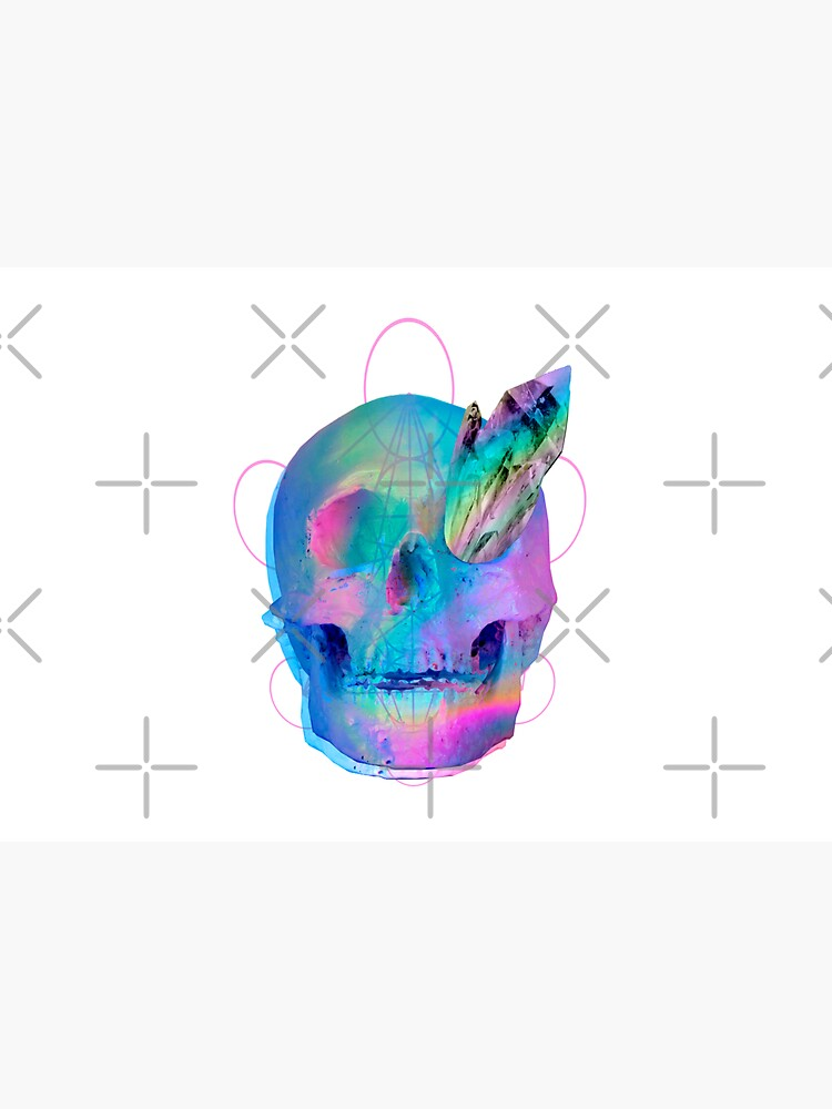 Vaporwave Outrun Trippy Neon Rainbow Skull With Quartz Crystals by curseten