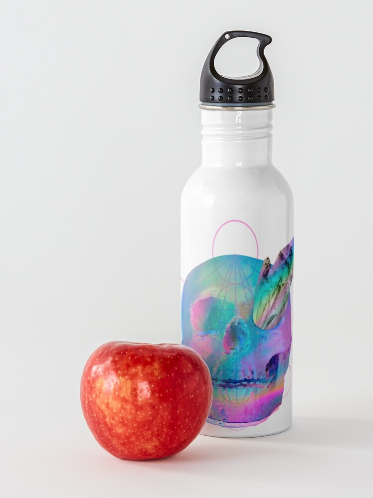 Alternate view of Vaporwave Outrun Trippy Neon Rainbow Skull With Quartz Crystals Water Bottle