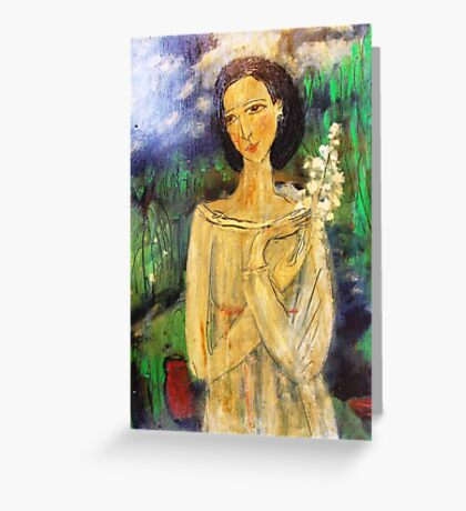 lady in a field Greeting Card