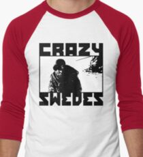 Crazy Swedes (B&W Print) Men's Baseball ¾ T-Shirt