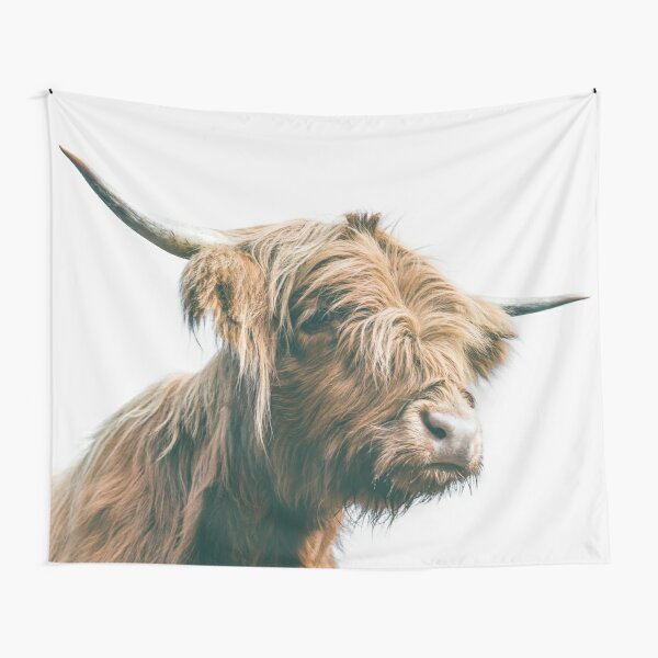 Majestic Highland cow portrait Tapestry