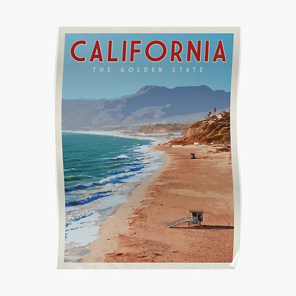 California Vintage Travel Poster • California Retro Travel Poster • California National Park • California Coastline  Poster