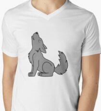 Solid Gray Howling Wolf Pup Men's V-Neck T-Shirt