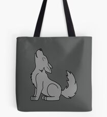 Solid Gray Howling Wolf Pup Tote Bag