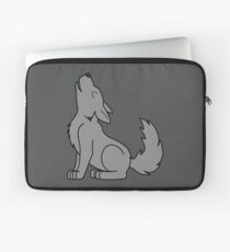 Solid Gray Howling Wolf Pup Laptop Sleeve