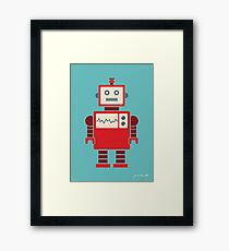 Robot graphic (Red on blue) Framed Print