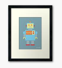 Robot graphic (Primary colors on blue) Framed Print