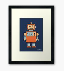 Robot graphic (Orange on navy) Framed Print