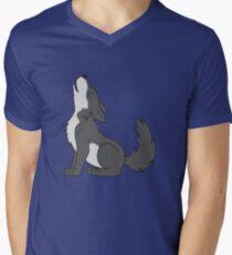 Gray Howling Wolf Pup Men's V-Neck T-Shirt
