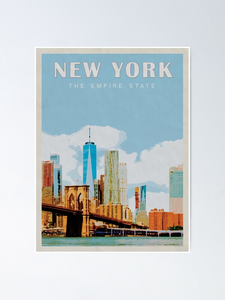 Alternate view of New York City Vintage Travel Poster • New York City Retro Travel Poster • NYC Travel Poster Poster