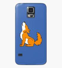 Orange Howling Wolf Pup Case/Skin for Samsung Galaxy
