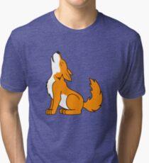 Orange Howling Wolf Pup Tri-blend T-Shirt
