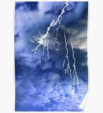 lightening from a cloudy stormy sky Poster