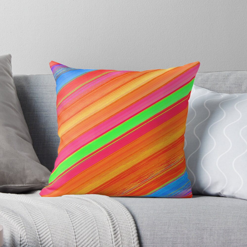 SHADES OF ORANGE DIAGONAL STRIPES- WITH GREEN AND BLUE ACCENT STRIPES  Throw Pillow