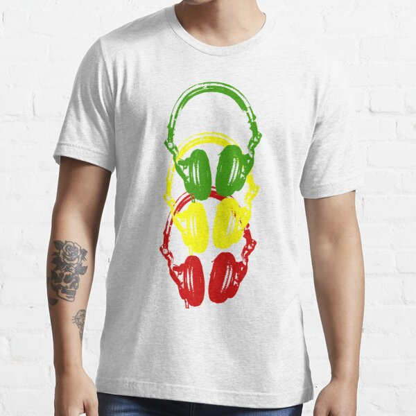 Rasta Colors Head Phones Schablonenstil Essential T-Shirt