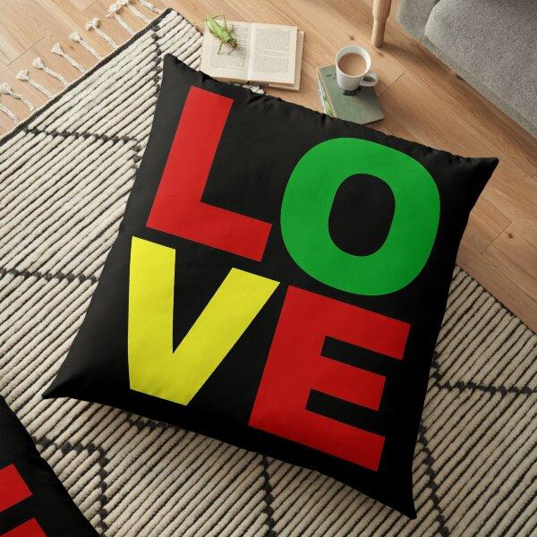 Love in red, green, yellow Floor Pillow