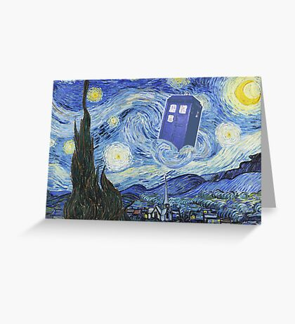 The Doctor Meets Van Gogh's Starry Night - Vincent Van Gogh Meets The Doctor Greeting Card