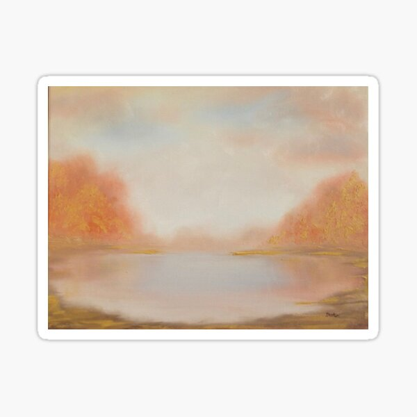 Autumn Lake - oil painting design Sticker