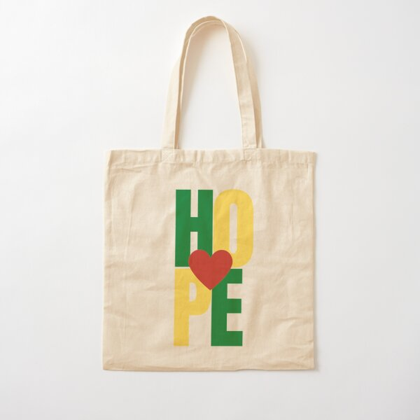 An expression of Hope with heart - Red, Green, Yellow Cotton Tote Bag