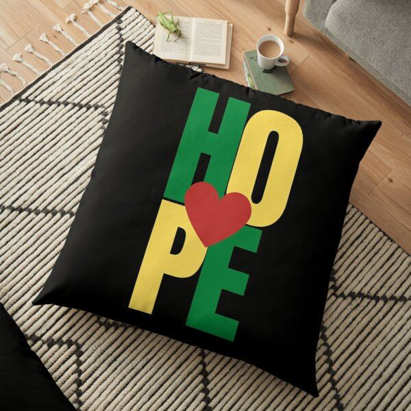 An expression of Hope with heart - Red, Green, Yellow Floor Pillow