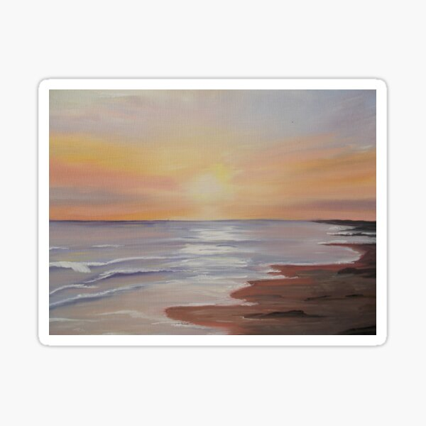 Barmouth Sunset - oil painting design Sticker