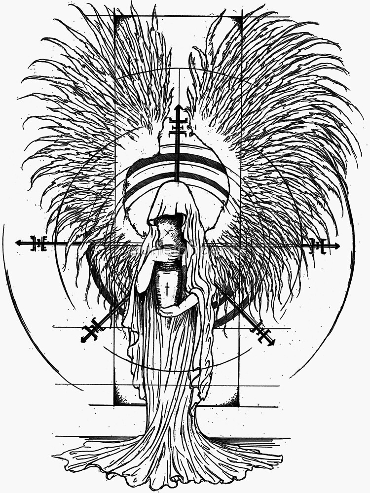 Angel of Death - Lineart Drawing by aurielphoenix
