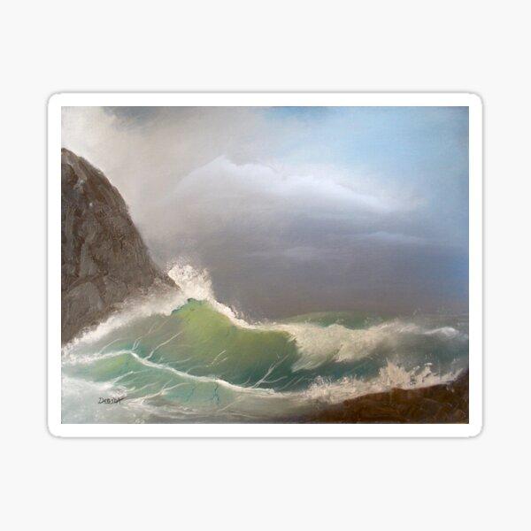 Stormy seas - oil painting design Sticker