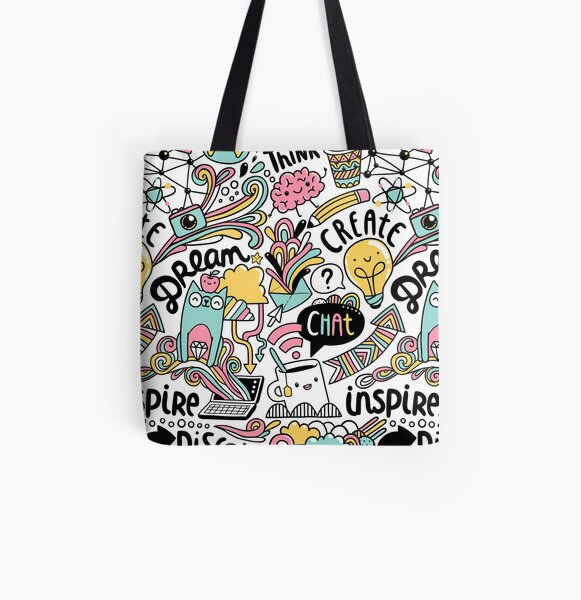Everyday. Internet and social media doodles. Cat, brain, coffee, pencil creative illustration All Over Print Tote Bag