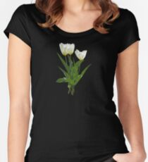 Backlit White Tulip Women's Fitted Scoop T-Shirt