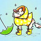 Longhair Chihuahua Fun with Raindrops Off-Leash Art™ by offleashart