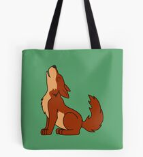 Natural Red Howling Wolf Pup Tote Bag