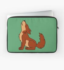 Natural Red Howling Wolf Pup Laptop Sleeve
