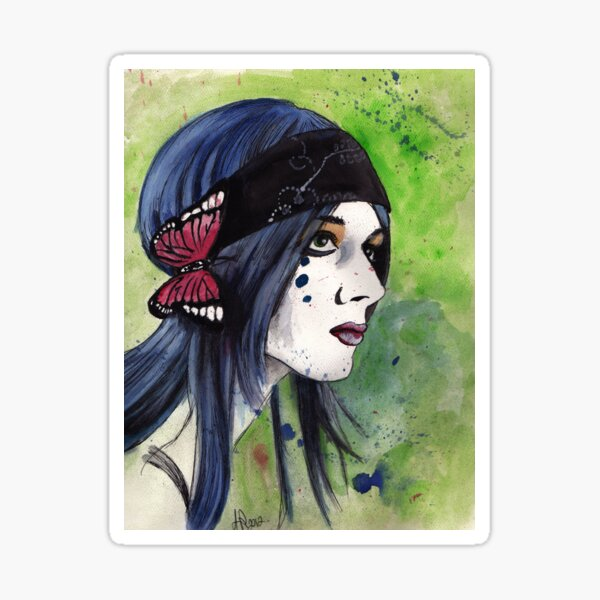 Girl With Blue Hair Sticker