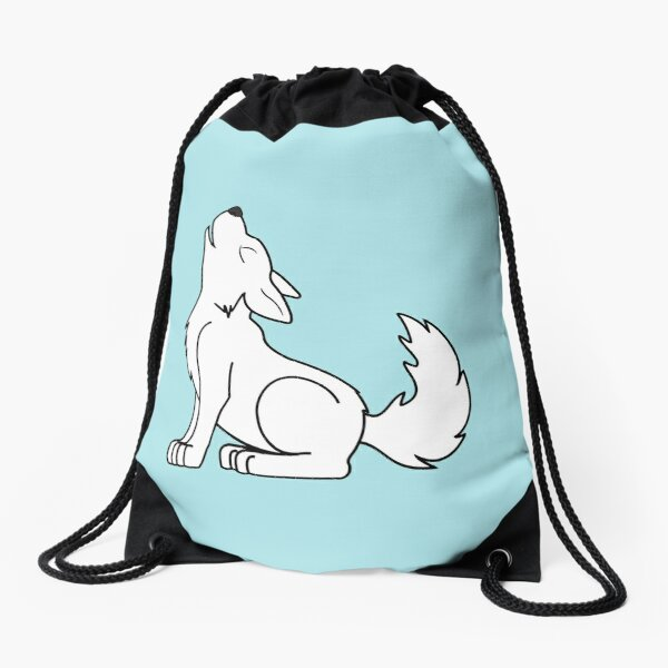 White Howling Wolf Pup Drawstring Bag