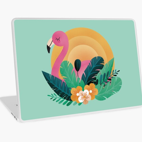 Cute Pink Flamingo in Tropical Forest  Laptop Skin
