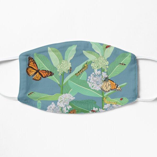 Monarchs and milkweed mask Flat Mask