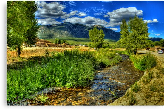The Red Willow Creek on Taos Pueblo by K D Graves Photography
