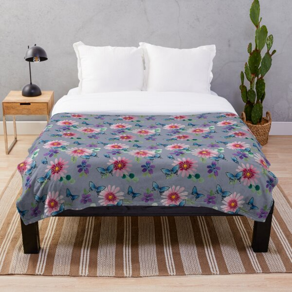 Dasies and Butterflies with neutral background  Throw Blanket