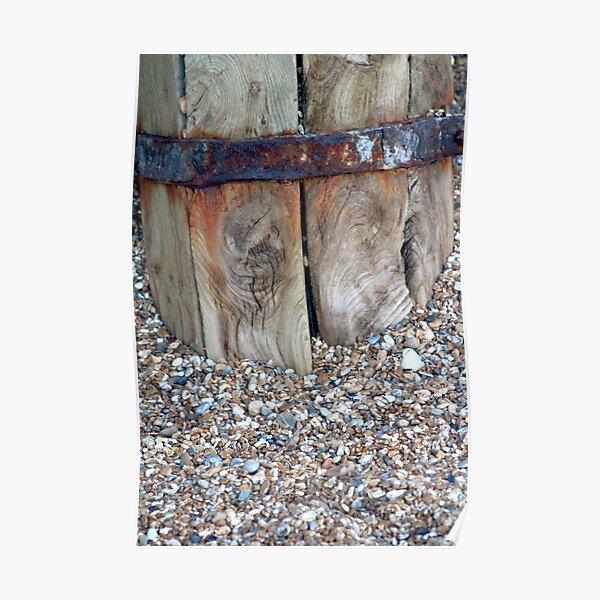 beach combing distressed wood pebbles Poster