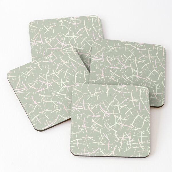 Chaos Crosses In Sage Green, Cream and Pink | Pattern Coasters (Set of 4)