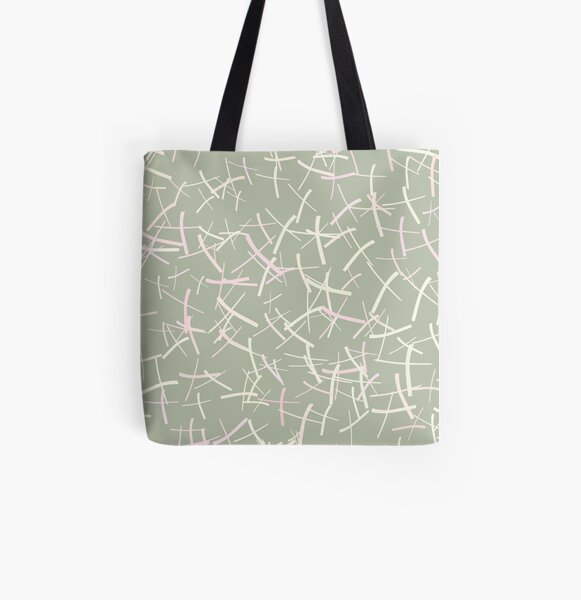 Chaos Crosses In Sage Green, Cream and Pink | Pattern All Over Print Tote Bag